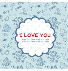Doodle Valentines day scrapbook love postcard vector image