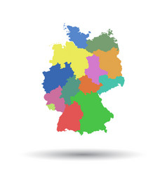 Germany map with federal states icon flat vector