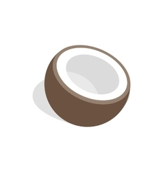 Half of coconut icon isometric 3d style vector image
