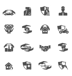 Insurance icons black vector image vector image