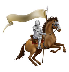 Knight with spear and banner vector