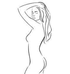 Line silhouette of a woman with hand in hair vector image