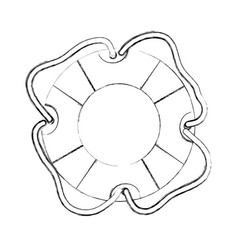 monochrome contour hand drawing of flotation hoop vector image vector image