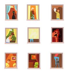 Neighbors people in windows set different vector
