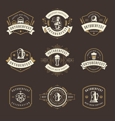 Oktoberfest celebration beer festival badges vector