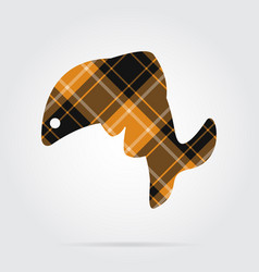 Orange black tartan icon - jumping fish dolphin vector