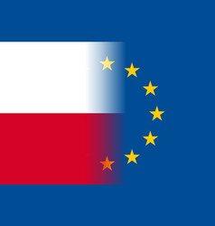 Poland national flag with a star circle of eu vector