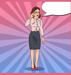 pop art worried business woman vector image