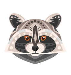 raccoon head logo decorative emblem vector image