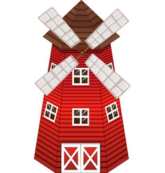 Red windmill with windows vector