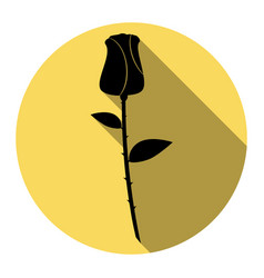 rose sign flat black icon vector image