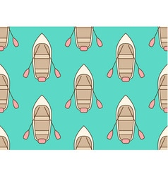Seamless pattern made of cartoon boats vector
