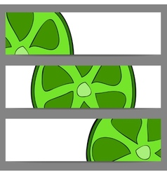 Set of banners with doodle lime vector image
