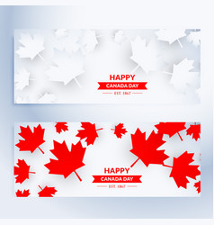 Set of happy canada day banners vector