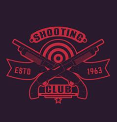 shooting club logo with guns crossed shotguns vector image vector image