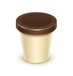 Tub bucket for vanilla chocolate dessert yogurt vector