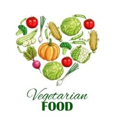 Vegetarian food heart poster of sketch vegetables vector image vector image