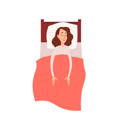 Woman sleeping or dreaming having a rest lying on vector