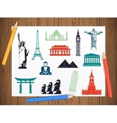 World landmarks icons on paper in work progress vector