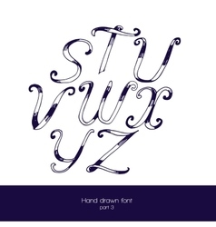 Handdrawn font in navy blue and white vector