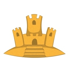 Sand castle icon cartoon style vector