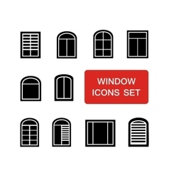 Window icons set with red signboard vector