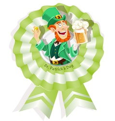 Rosette on st patricks day with leprechaun vector
