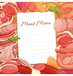 Gastronomic meat products menu design vector