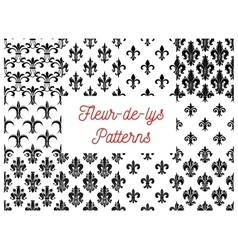 Victorian fleur-de-lis seamless patterns set vector