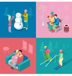 Isometric winter people skiing couple and snowman vector