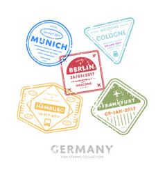 International travel visa stamps vector
