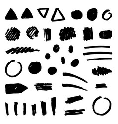 Set of black paint grunge objects vector