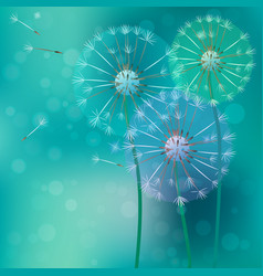 Realistic dandelion with flying buds vector