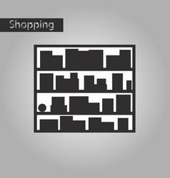 black and white style icon bookshelf vector image