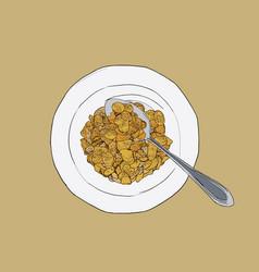 Corn flakes cereal sketch vector