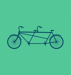Tandem bicycle isolated vintage bike on green vector