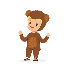 Cute happy boy dressed as a bear kids carnival vector