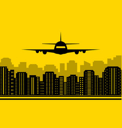 Yellow city background with plane vector