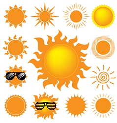 set of the sun on white background vector image
