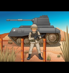 A soldier in front of the tank vector