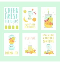 Set of six nice smoothie cards vector