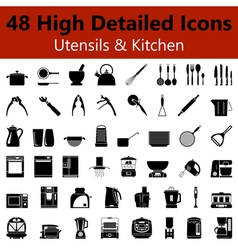 Utensils and kitchen smooth icons vector