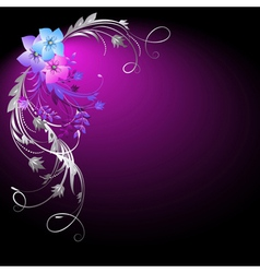 flowers and silver vector image