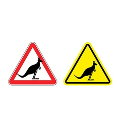 Warning sign of attention kangaroo hazard yellow vector