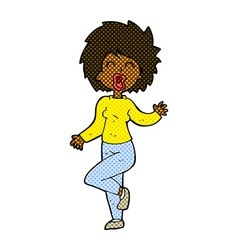 Comic cartoon woman dancing vector