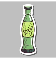 Glass bottle with drink sticker vector