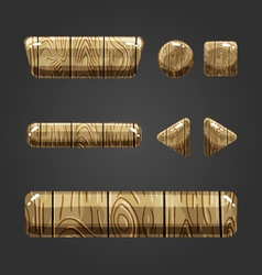 Set of wooden button for game design-3 vector