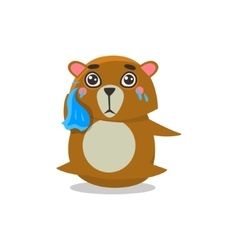 Crying brown bear vector