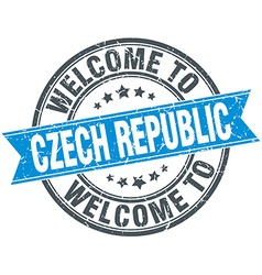 Welcome to czech republic blue round vintage stamp vector