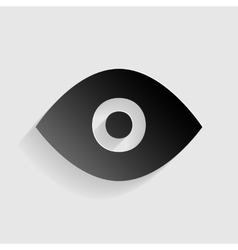 Eye sign  black paper with shadow on vector